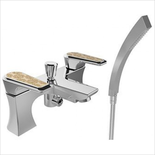 Heritage Taps - Lymington Bath Shower Mixer With Gold Inlay