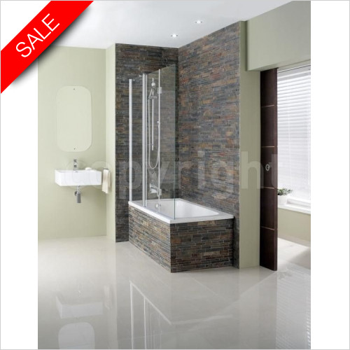 Simpsons Bath Screens - Design Semi Frameless Triple Bath Screen 1500x1500mm
