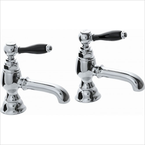 Imperial Bathroom Taps - Radcliffe Black Lever 1/2'' Basin Pillar Taps