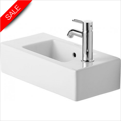 Duravit Basins - Vero Handrinse Basin 500mm TH R/L Pre-Punched