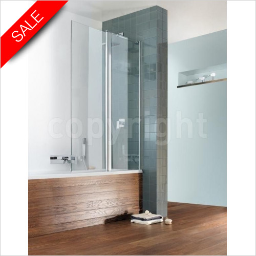 Simpsons Bath Screens - Design Semi Frameless Double Bath Screen 1060x1500mm
