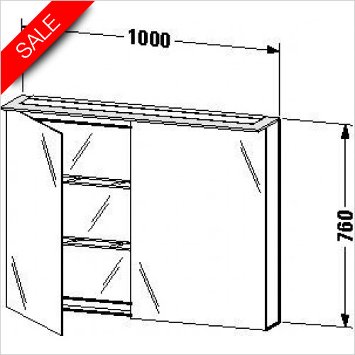 X-Large Mirror Cabinet 760x1000x138/208mm